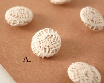 Handmade linen fabric buttons, set of 6 buttons, Lace pattern, fabric buttons