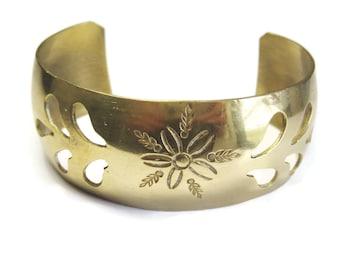 Vintage Brass Cuff Bracelet with Flower Design