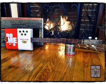 Cigar Box Guitar With Frets - Romeo & FREE bottleneck slide