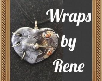 Steampunk Heart Necklace/Pendant/Clock Necklace/Clock Pendant/Clock Jewelry