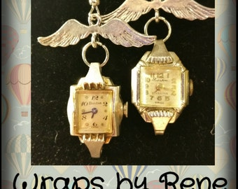 Time Flies Earrings Vintage/Steampunk/Geekery Watch Earrings/Steampunk Jewelry/Steampunk Gifts/Wings Earrings/Upcycled Earrings