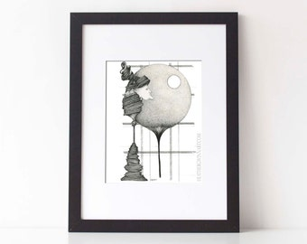 The WATCHMAN: Pen ink illustration, pen drawing, pen and ink art, black and white art, limited edition Fine Art Print - 8x10