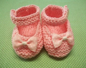 Pink Baby Booties, Pink Baby Shoes, Pink Baby Girl Shoes, Pink Newborn Shoes, Pink Crib Shoes, Pink Cotton Baby Booties, Mary Janes