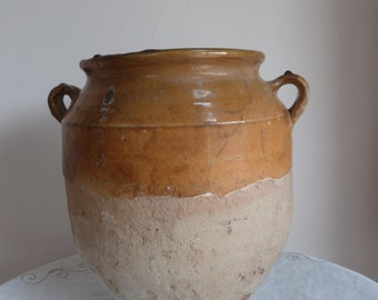 Large Yellow glaze Confit Pot from the 1800s