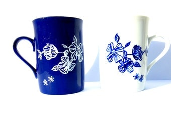 Mugs FLEUR BLEUE -- // Made to order // 2 Handpainted Blue and White Porcelain Mugs by SophieLDesign