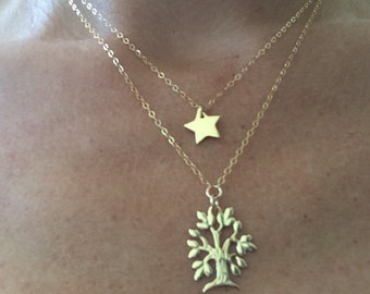 Cute necklace double row and charms goldfield 14K