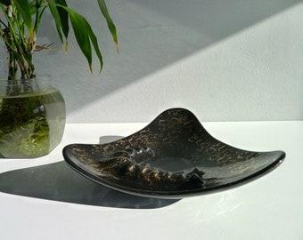 SALE!!! Vintage Black and Metallic Gold Ashtray