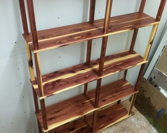 cedar bookshelf, wooden bookshelf, storage shelf, bookshelf, rustic furniture,