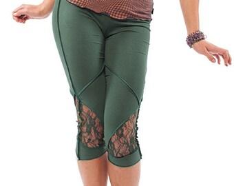 ORGANIC PIXIE LEGGINGS, green pixie leggings, psy trance leggings, boho festival pixie pants, cotton & lace leggings, festival yoga pants
