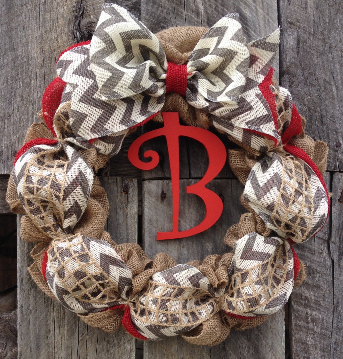 Burlap Initial Wreath Wreath For Door Chevron Wreath Red