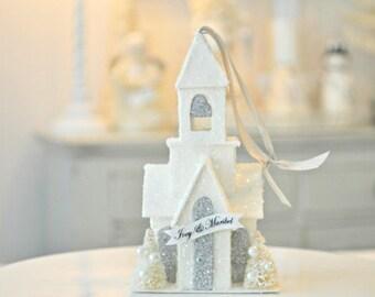 Glitter White Chapel ornament