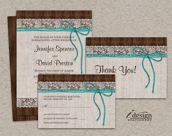 DIY Printable Rustic Turquoise Wedding Invitation Sets With Burlap And Lace, Wedding Invitation Kits With Invite, RSVP and Thank You Card