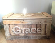 Personalised Toy Box from Reclaimed Wood and Heart Lid