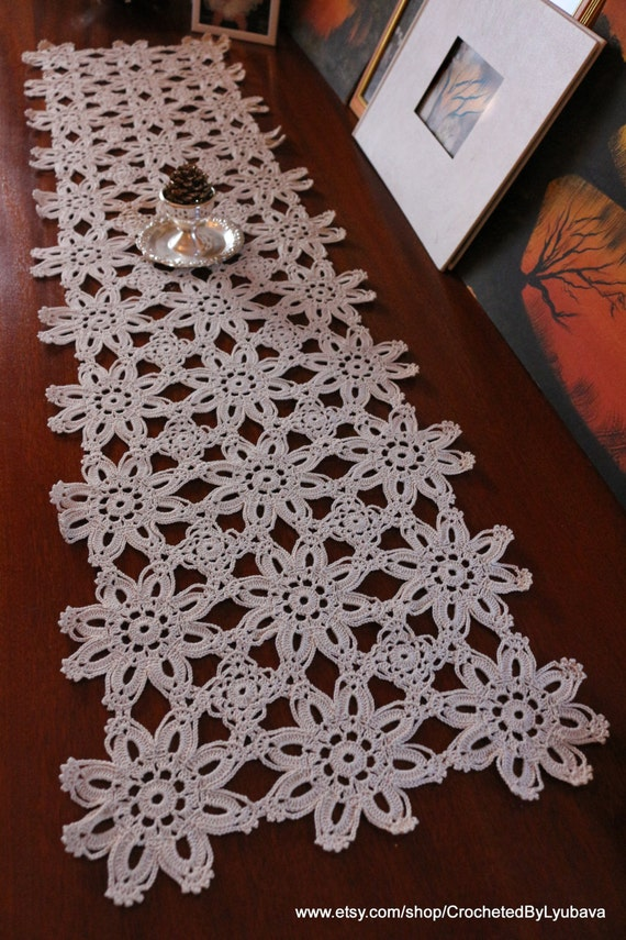 Crochet Patterns Lace Table Runners : Crochet Table Runner Ecru Crochet Table by CrochetedByLyubava