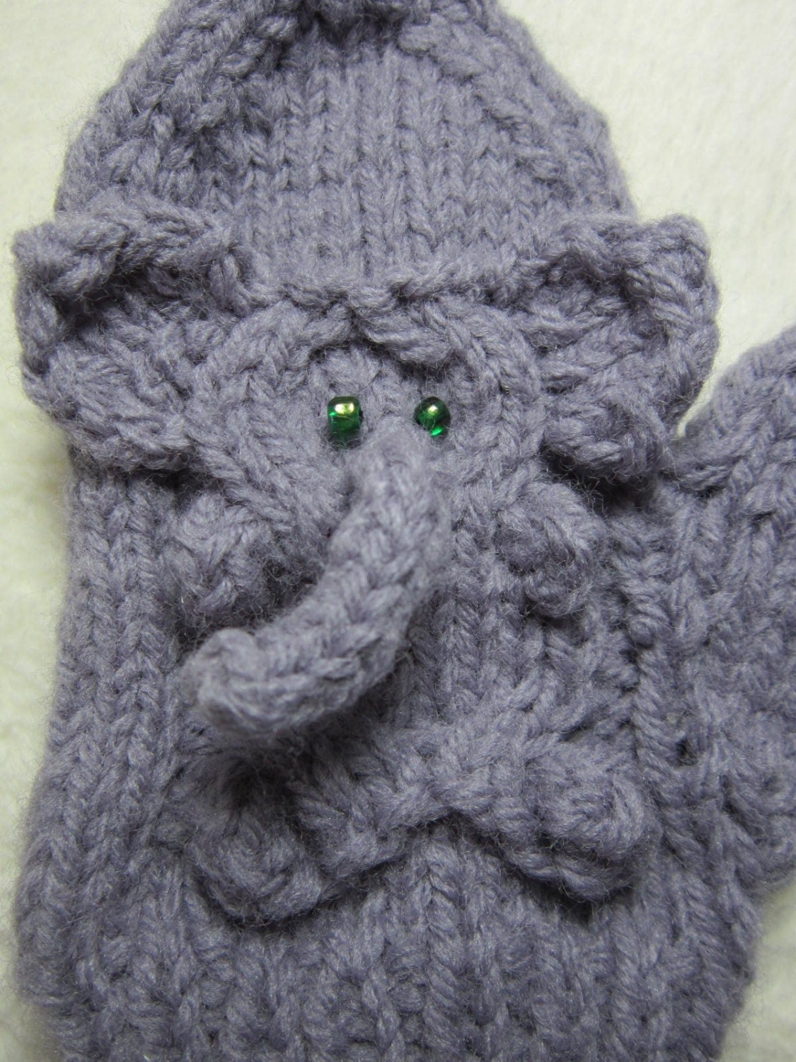 Easy Elephant Knitting Pattern : Mitten pattern pdf Knitted Elephant Mittens. 3 sizes for