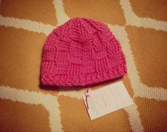 Handmade bubblegum pink basketweave patterned crochet hat (sized for infant) - TO BE NAMED