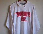 Vintage 80s Forenza Long Sleeve Collared New Year's T Shirt