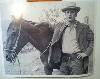 Paul Newman and Horse 70's Poster as Butch Cassidy in Sundance Kid