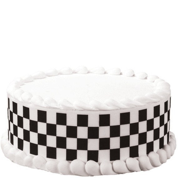 Cake Decorating Checkered Flag : Custom Made Designer Checkered Flag Edible Image by ...