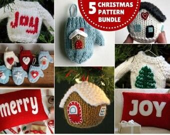 Knitting PATTERN / Christmas Knit Pattern Bundle / PDF instant download / Knit Decoration / Holiday Ornament Pattern Collection