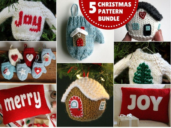 Knitting PATTERN / Christmas Knit Pattern Bundle / PDF instant download / Knit Decoration / Holiday Ornament Pattern Collection