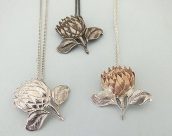 Sterling Protea Pendant on Chain