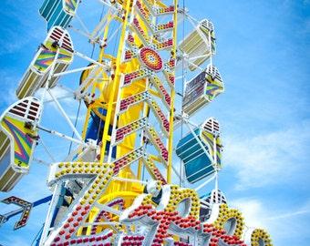 Zipper Carnival Ride Photo, Vintage Art Photography, Ocean City, Maryland, Nursery Art, Home Wall Decor, Fine Art Photography, Kids Decor