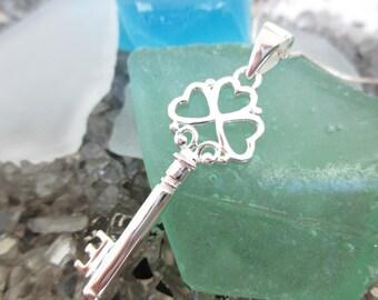 4 Clover Sterling Silver Key Celtic Irish Love Key