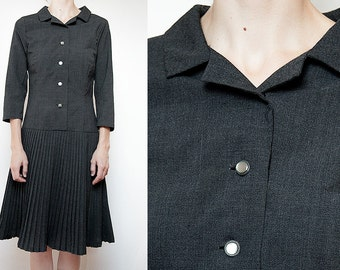 """Classic """"Governess"""" Dress with Pleats, 60s / Vintage / Retro / Mod"""