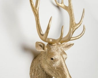 Interior Illusions Deer Head Taxidermy in Gold