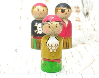 Pirate Captain- wooden peg doll, pirate toy, wooden kids toy, handmade toy, waldorf inspired, wooden pirate