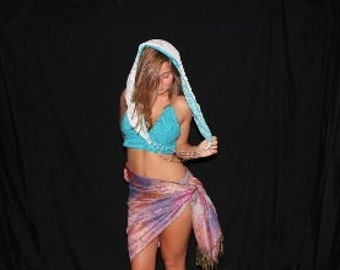Glow sarong glows in blacklight & you can draw on it with a UV laser