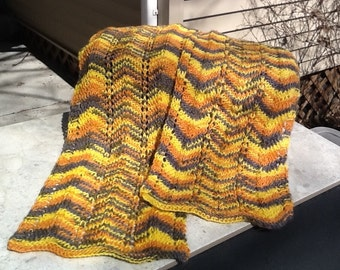 SALE!! Yellow and gray chevron knit scarf.  Yellow knit scarf.  Made from llama for a touch of warmth and softness. Lightweight