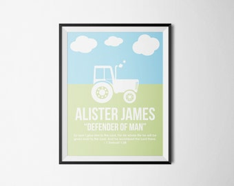 Customizable Baby Boy Tractor Name Print, Nursery Print, Boy Bedroom Art