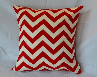 Envelope Pillow Cover - Premier Prints Chevron Red and Natural - 16 x 16