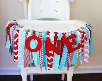 Aqua Red 1st Birthday Banner, Dr. Seuss Highchair Banner, 1st Birthday Banner, Highchair Garland, Little red wagon, Circus highchair