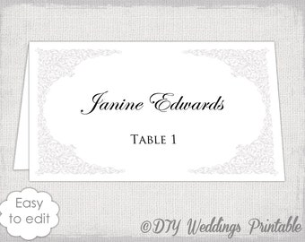 """Place card template Silver wedding place card templates """"Victorian"""" printable name cards in platinum gray  YOU EDIT Word instant download"""