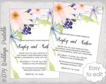"Wedding invitation template flower ""Eden"" printable wedding invitations template Editable Word digital download - YOU edit templates"