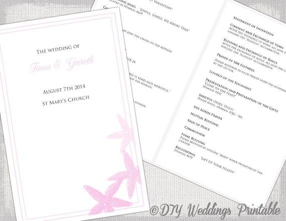 Catholic Wedding program template Pink Beach