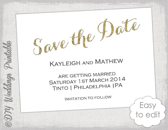 printable save the date template gold glitter