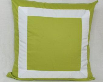 "Lime green ribbon border decorative throw pillow cover. 26"" x 26"" Euro sham.Toss pillow."