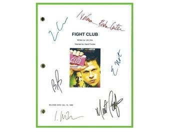 Fight Club Movie Script Signed Screenplay Autographed Edward Norton, Brad Pitt, Helena Bonham Carter, Jared Leto, Meat Loaf, Zach Grenier