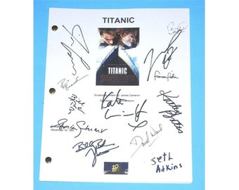 Titanic Movie Script, Autographed: James Cameron, Leonardo DiCaprio, Kate Winslet, Billy Zane, Kathy Bates, Seth Atkins, Bill Paxton