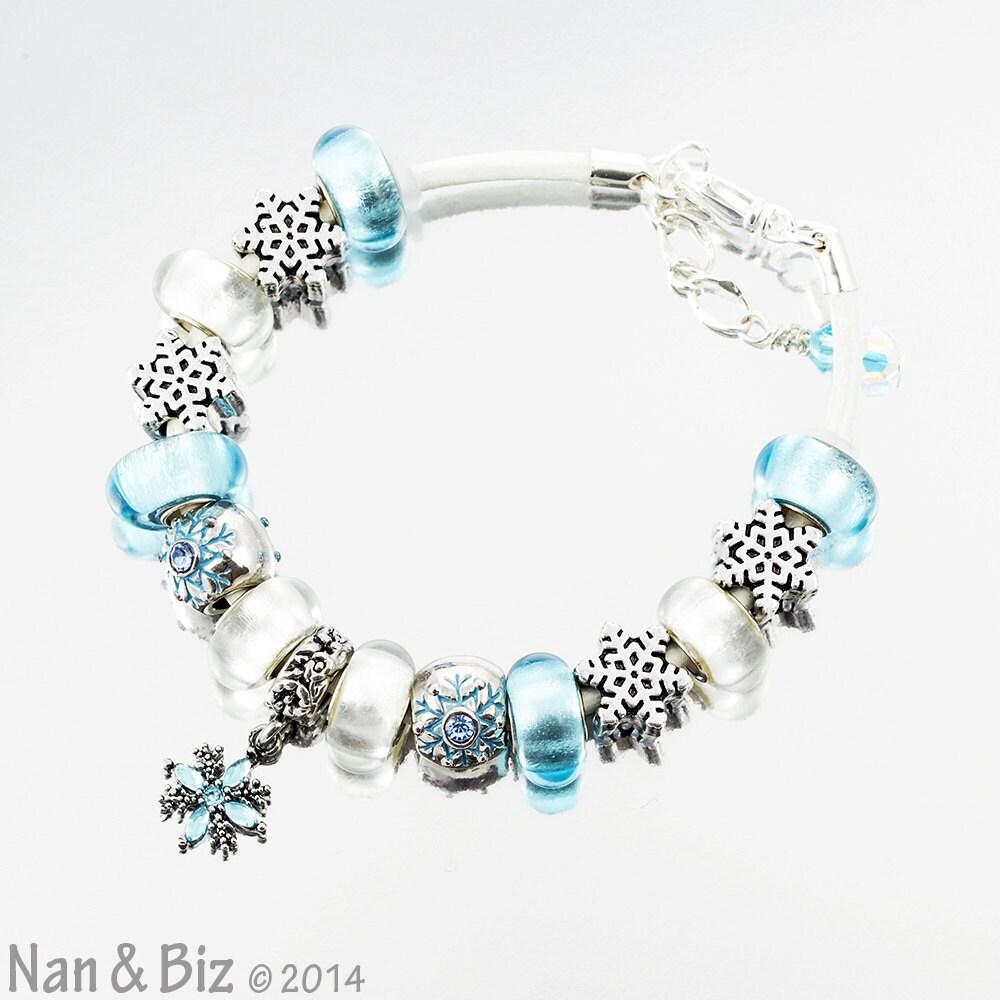 Snowflake Charm Bracelet Icy Silver Light Aqua Blue By