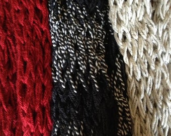 Hand Knitted Chunky Infinity Scarf -- Many Colors