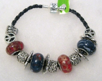 425 - CLEARANCE - Red & Blue Beaded Bracelet