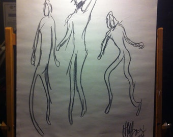 """Charcoal drawing - """"Three Dancing Figures"""" (Personal Collection)"""