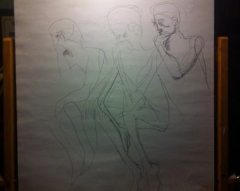 """Pencil sketch - """"Thinking Figures"""" (Personal Collection)"""