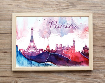 Paris Print Download-Wall Decor-Home Decor-Watercolor Digital Art-Wall Art Posters-Wall Hanging Poster