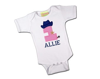 Baby Girl Western Cowboy Birthday Bodysuit with Pink Gingham Number and Name